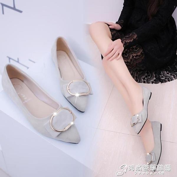 平底鞋 春秋新款單鞋尖頭平底鞋女淺口平跟鞋女鞋軟底工作鞋女豆豆鞋 时尚芭莎