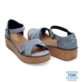 TOMS 牛仔魚口楔型鞋-女款(10010004 BLUE)