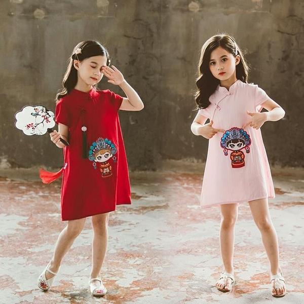 兒童旗袍 女童連身裙夏季中國風旗袍女孩改良民國中大童網紅衣服兒童夏裝潮 嬡孕哺