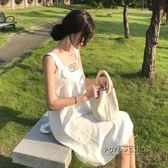 春夏女裝韓版chic百搭三種穿法吊帶抹胸裙背帶洋裝開叉半身裙女   泡芙女孩輕時尚