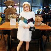 連身裙女秋冬2018新款時尚韓版寬鬆顯瘦半高領亮片流蘇中長款裙潮 居享優品