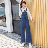 吊帶褲 春季新款韓版寬鬆直筒牛仔背帶褲女學生高腰闊腿微喇叭連體褲    coco衣巷