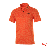 Puma Golf 日本線 男版金線翻領迷彩POLO衫 Feather Monogram 橘 923834 03