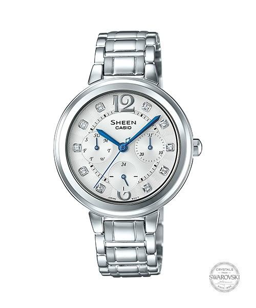 【時間道】[CASIO。SHEEN]三眼顯示施華洛世奇鑽刻時尚女錶-白面銀鋼(SHE-3048D-7)免運費