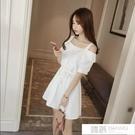洋裝 甜美學院風露肩一字領寬鬆顯瘦A字吊帶洋裝女裙子 夏季新品