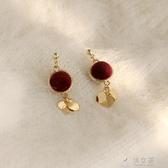 銀針紅色小錦鯉耳墜女氣質長款適合新年的耳環新款冬季耳飾品 俏女孩