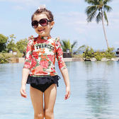 尾牙年貨 長袖防曬游泳衣裙式分體寶寶溫泉女童泳裝