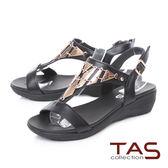 TAS 金屬造型質感T字涼鞋-奢華黑