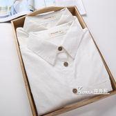 長袖襯衫-秋裝新款韓國小清新學生純白色襯衫女長袖簡約修身打底襯衣女 Korea時尚記