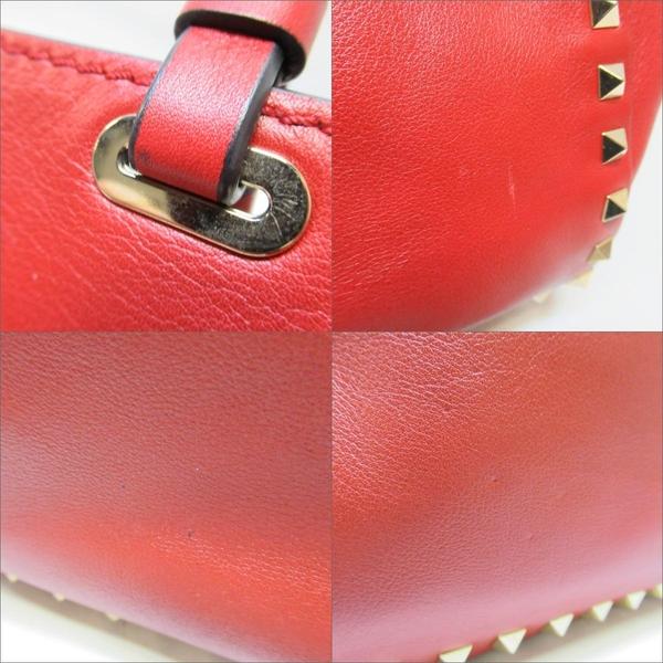 VALENTINO 范倫鐵諾 紅色牛皮鉚釘手提包 肩背斜背包 Studs 2way【二手名牌BRAND OFF】