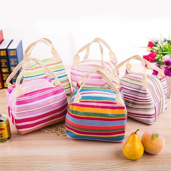 [拉拉百貨]條紋帆布保溫便當袋 防水保溫便當袋 野餐袋 保溫 包冰 學校