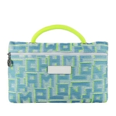 【南紡購物中心】LONGCHAMP ROSEAU系列LGP編織滿版手提收納包(藍)