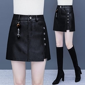 皮裙褲女高腰春秋季2021年新款顯瘦外穿PU皮包臀半身裙短裙子短褲