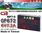 【久大電池】神戶電池 CSB電池 GP672 6V7.2Ah 品質壽命超越 NP7-6 PE6V7 WP7-6