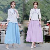 短袖裙裝 新款中國風女裝棉麻小清新刺繡兩件套中式唐裝茶人服套裝