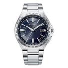 【台南 時代鐘錶 CITIZEN】星辰 鈦金屬 光動能電波 萬年曆 日期顯示 金屬錶帶男錶 CB0210-54L 藍 42.5mm