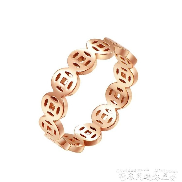 戒指玫瑰金18K銅錢食指戒指女時尚個性韓版 網紅鈦鋼 不掉色招財指環 衣間迷你屋