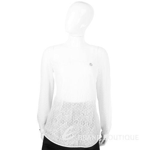 CLASS roberto cavalli 白色點點蕾絲拼接長袖上衣 1440577-20