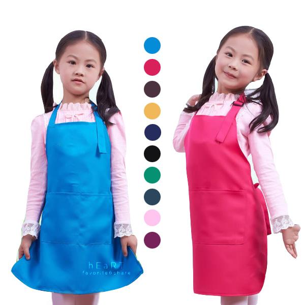 兒童純色素面畫畫衣防潑水圍裙 兒童圍裙 防髒衣 畫畫衣 兒童繪畫衣