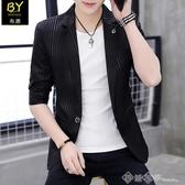 西裝外套 西服男士夏季薄款七分袖外套男半袖發型師休閒韓版修身中袖小西裝 西城故事