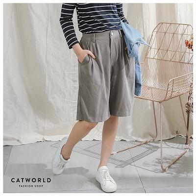 Catworld 後鬆緊壓摺絨面五分褲【12500233】‧F