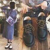 新款短靴女平底冬季百搭韓版及踝靴女學生小皮鞋機車靴子LM々樂買精品