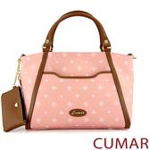 【CUMAR女包】LOGO款印花配皮手提包-粉紅