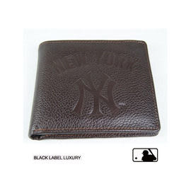 Backbager 背包族【MLB 美國大聯盟 洋基】橫式 皮件 名片夾/皮夾/短夾/錢包-咖啡色