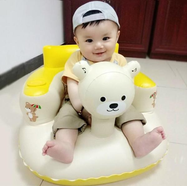 兒童椅子宝宝学坐椅儿童充气小沙发幼婴儿加厚防摔座椅便携式带音乐可折叠-享家