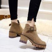馬丁靴女高跟鞋百搭粗跟防水臺短靴加絨厚底女鞋潮  魔法鞋櫃