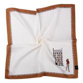 DAKS經典格紋100%純棉帕巾(白色/咖啡色)989108-128
