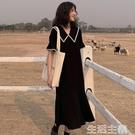 短袖洋裝 年最新人氣爆款 夏裝新款 流行黑色連身裙 春裝早初 大碼胖mm洋氣顯瘦 生活主義