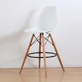 【E-home】二入組 EMSH北歐經典造型吧檯椅 六色可選(吧檯椅)白色X2