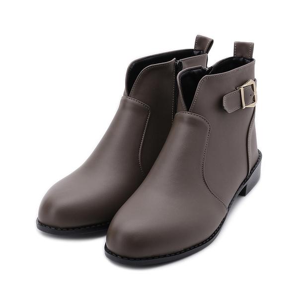 RIN RIN 特大尺碼 皮釦V字短靴 可可 女鞋