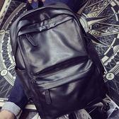 古休閒雙肩包男士背包電腦包學院風書包女PU皮旅行潮包復後背包