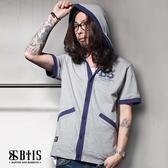 【BTIS】酷帥 短袖連帽外套 / 麻灰色