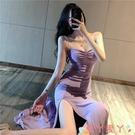 吊帶洋裝女神范紫色長裙子2021年春季新款夏天氣質性感開叉吊帶顯瘦連身裙 愛丫