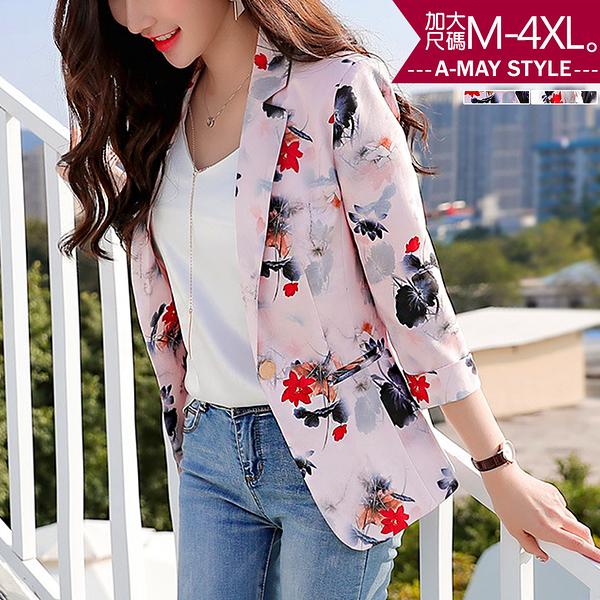 加大碼-文藝花卉感七分袖西裝外套(M-4XL)