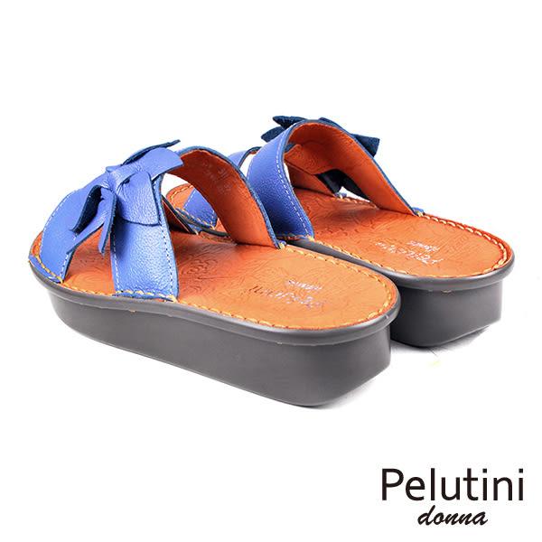 【Pelutini】donna花朵彈力厚底涼拖鞋 藍色(5925W-BU)