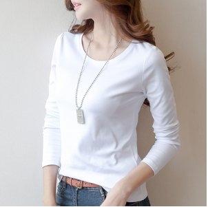 長袖T恤圓領上衣打底內搭S-3XL/牛奶絲秋冬白色長袖t恤打底衫修身純色3F054.865依品國際