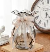 花瓶 法式絲帶創意玻璃花瓶透明歐式客廳百合插花大花瓶電視柜裝飾擺件【快速出貨八折下殺】