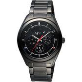agnes b. Solar 驚豔巴黎太陽能日曆腕錶-黑/40mm V14J-0CG0K(BT5011P1)