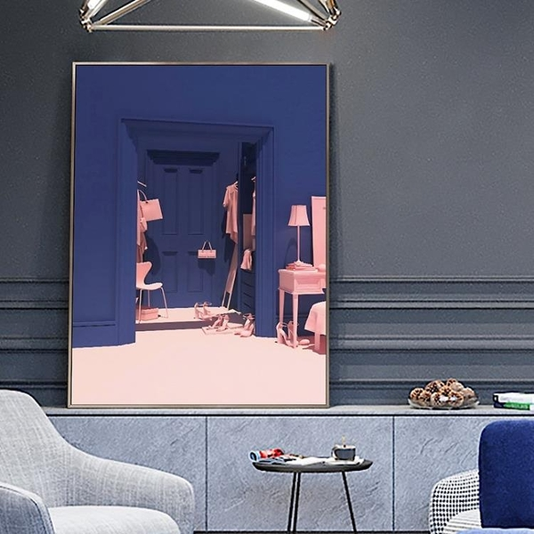 北歐風格裝飾畫抽象藝術畫室掛畫玄關客廳壁畫深藍色63*83