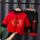 中國風龍鳳刺繡棉襖長袖上衣+棉絨長褲 附活動式中國結 套裝 橘魔法 拜年服 童裝 過年 新年 唐裝