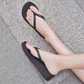 拖鞋-人字拖女夏時尚外穿個性韓版夾板平底中跟坡跟夾腳簡約厚底拖鞋 好再來小屋