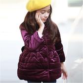 鋪棉立領大衣 大蝴蝶結 厚外套 保暖外套 兒童外套 超厚 防寒 女童 優雅 外套 Augelute 50441
