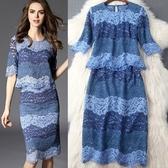 洋裝(兩件套)-春季短袖拼色蕾絲包臀女裙裝73pu55【巴黎精品】