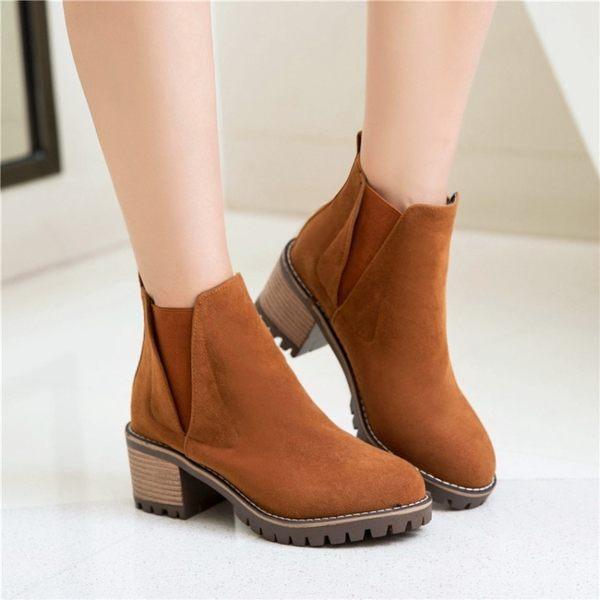 丁果、大尺碼女鞋34-43►絨皮鉚釘中跟短靴*3色