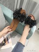 夏季拖鞋女韓版一字型蝴蝶結流蘇軟底百搭外穿時尚耐磨鞋 可可鞋櫃