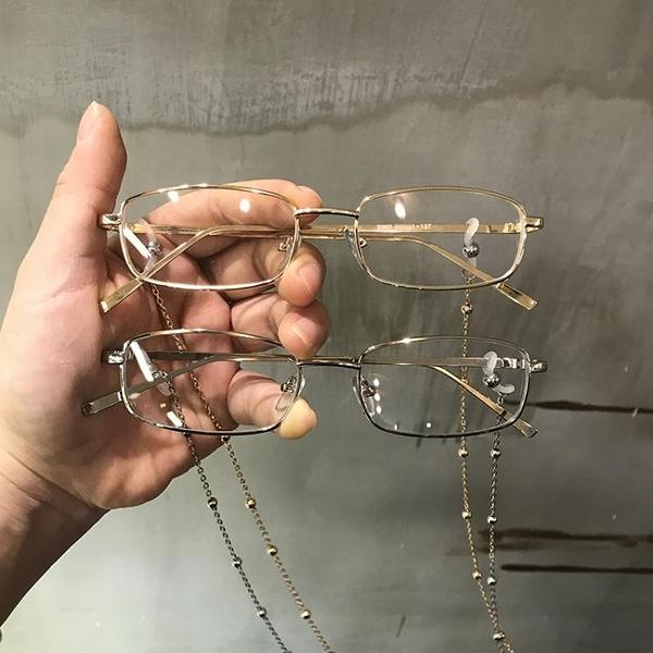 眼鏡鏈條 眼鏡框女韓版潮復古原宿港味帶鏈子框架女ins網紅歐美平光素顏鏡 米家